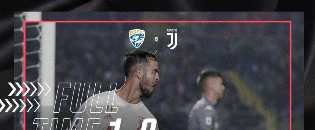 Fim de jogo Brescia 1 x 2 Juventus. Twitter.com/juventusfces
