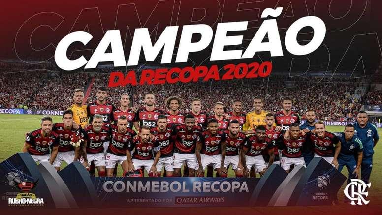 Flamengo não dá chance ao adversário e é campeão da Recopa. Flamengo