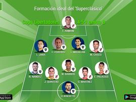 Formación ideal conjunta entre jugadores de Boca y River. BeSoccer