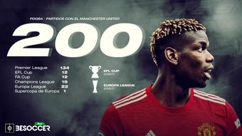 Paul Pogba cumplió 200 partidos con el United. BeSoccer Pro