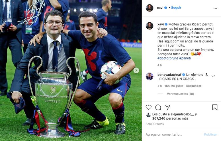 Xavi se despidió de Pruna. Captura/Instagram/xavi