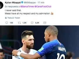 Mbappé aprovechó para piropear a Messi. AFP/Twitter