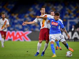 El Nápoles le ganó a la Roma. Twitter/OfficialASRoma