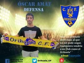 Fotomontaje de bienvenida a Óscar Amat. Orihuela CF