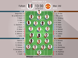 Fulham v Manchester United, Premier League, GW 26: Official line-ups. BESOCCER