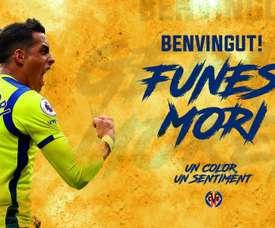 Funes Mori passes des 'Toffees' au 'Sous-marin jaune'. VillarrealCF