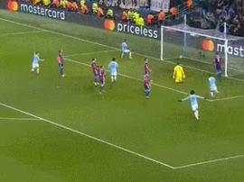 Gabriel Jesus made it 1-0 to Man City against FC Basel. Screenshot/Twitter