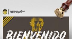 Gabriel Rojas llegó cedido a Peñarol. Twitter/OficialCAP