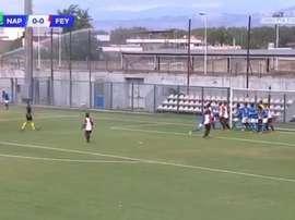 Gaetano anotó un gran gol olímpico en la Youth League. Twitter