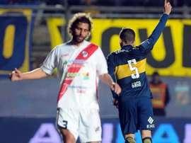 Gago celebra un gol con la camiseta de Boca Juniors. Twitter