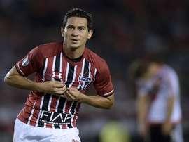 Ganso celebrates scoring for Sao Paulo. EFE