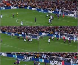 Garay outs Valencia ahead against Barcelona at the Mestalla. CAPTURA/BEINSPORTS