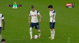 Bale entró en el campo y tiró una falta nada más ingresar en el campo. Captura/ESPN