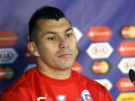 Gary Medel gives a press conference at the National Stadium in Santiago on July 3, 2015