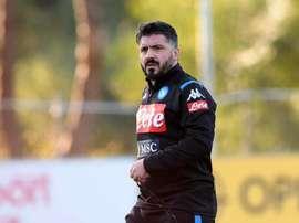 Mauvais début de match de Gattuso avec Naples. Twitter/sscnapoli