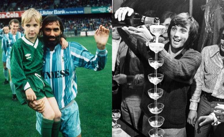 George Best, en su partido de homenaje y en una de sus muchas fiestas. Varios