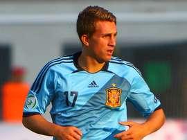 Gerard Deulofeu, en un partido de la selección española.