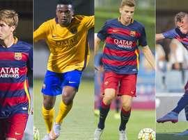 Gerard Gumbau, Sergi Samper, Juan Cámara y Wilfrid Kaptoum, jugadores del Barcelona B. BeSoccer