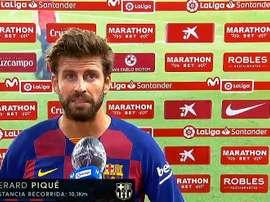 Piqué se mostró pesimista de cara al título de Liga. Captura/MovistarLaLiga