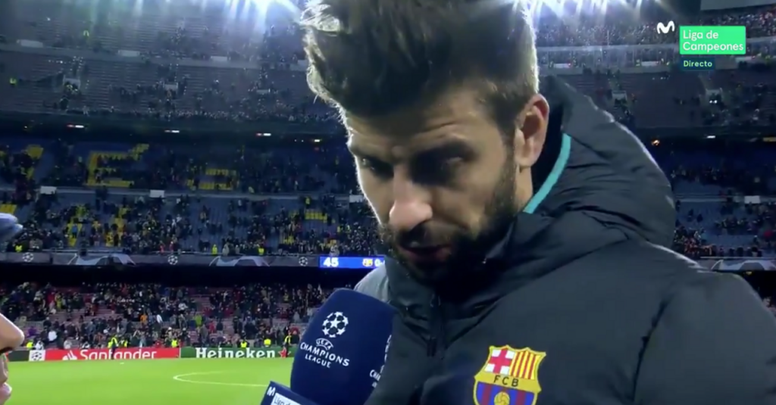 Piqué concedeu entrevista após o empate diante do Slavia. Captura/MovistarLigaDeCampeones