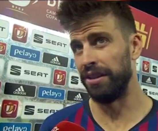 Piqué was left to analyse what happened at Benito Villamarín. Screenshot/RTVE