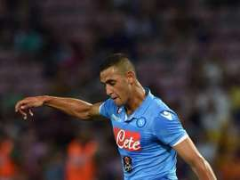 Ghoulam kicking the ball. Goal