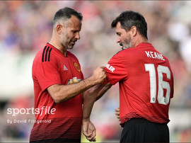 Keane replaced Ryan Giggs. Twitter/Sportsfile