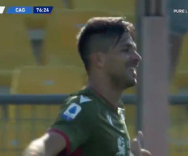 Gio Simeone s'offre un gros but pour ouvrir son compteur avec Cagliari. Captura/beINSports