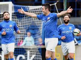 Glenavon striker Eoin Bradley (M) is suspended for six matches. Twitter