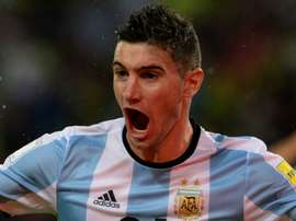 Lucas Alario celebrating a goal for Argentina. Goal