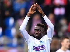 Ndidi celebrating a goal. Goal