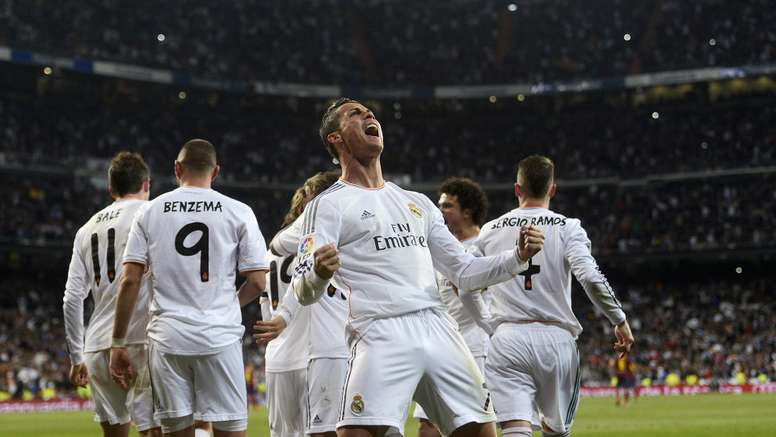Cristiano Ronaldo celebrates scoring for Real Madrid. Goal