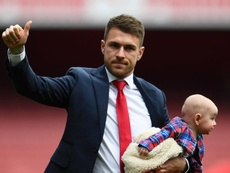 Ramsey was emotional at Arsenal's final home game of the season. GOAL