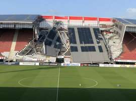 Part of the AFAS stadium roof collapsed on Saturday. GOAL