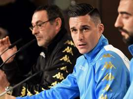 Callejon (middle) and Albiol during the press conference. Goal