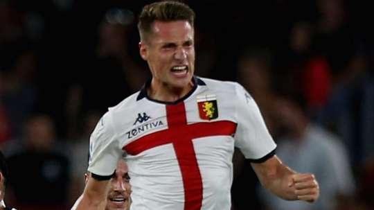 L'attaccante del Genoa, ex Frosinone, Pinamonti. Goal