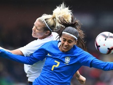 Andressa Alves (r) will miss the rest of the Women's World Cup. GOAL