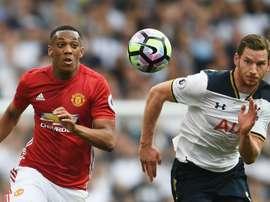 Anthony Martial, Manchester United et Jan Vertonghen, Tottenham. GOAL