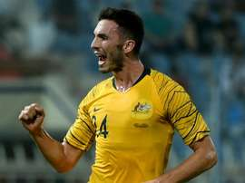 Apostolos Giannou celebrates his goal. GOAL