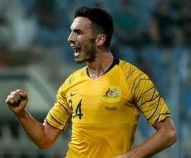 Apostolos Giannou celebrates his goal. GOAL