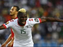 Aristide Bance  celebrating the goal that changed the match. Goal