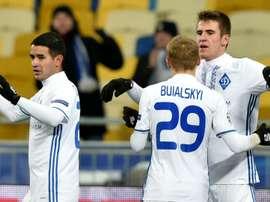 Artem Besedin celebrates scoring for Rostov. Goal