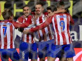 Atletico Madrid celebrate their goal against Betis. Goal