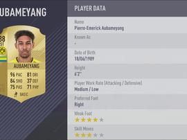 La fiche d'Aubameyang sur FIFA 18. GOAL