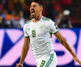 Sauveur de l'Algérie, Bounedjah a marqué plus de buts que Messi et Ronaldo. AFP
