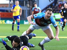 Ashley Barnes was booked for his penalty protests in the first half. GOAL