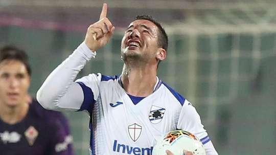 L'attaccante della Sampdoria Bonazzoli. Goal