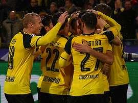 Les joueurs du Borussia Dortmund célèbrent leur victoire face au Legia Varsovie. AFP