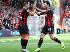 Ryan Fraser and Adam Smith celebrate against Leicester. GOAL