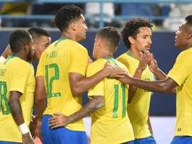 Brazil celebrate 2018. Goal